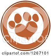 Clipart Of A Brown And White Circle With A Heart Shaped Paw Print Royalty Free Vector Illustration by Hit Toon