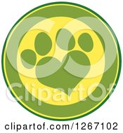 Clipart Of A Green And Yellow Circle With A Heart Shaped Paw Print Royalty Free Vector Illustration by Hit Toon