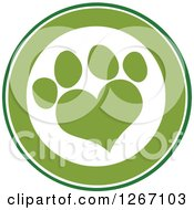 Clipart Of A Green And White Circle With A Heart Shaped Paw Print Royalty Free Vector Illustration by Hit Toon