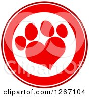 Clipart Of A Red And White Circle With A Heart Shaped Paw Print Royalty Free Vector Illustration by Hit Toon