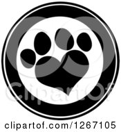 Clipart Of A Black And White Circle With A Heart Shaped Paw Print Royalty Free Vector Illustration by Hit Toon