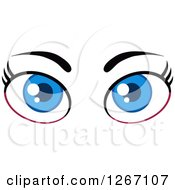 Clipart Of A Blue Pair Of Female Eyes And Brows Royalty Free Vector Illustration by Hit Toon
