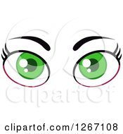 Clipart Of A Green Pair Of Female Eyes And Brows Royalty Free Vector Illustration by Hit Toon