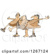 Clipart Of Cavemen Dancing The Can Can Royalty Free Vector Illustration by djart