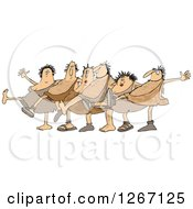 Clipart Of Cavemen And Women Dancing The Can Can Royalty Free Vector Illustration by djart