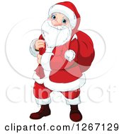Clipart Of A Happy Christmas Santa Claus Carrying A Sack Over His Shoulder Royalty Free Vector Illustration