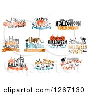 Clipart Of Festive Halloween Designs 8 Royalty Free Vector Illustration