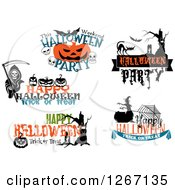 Clipart Of Festive Halloween Designs 5 Royalty Free Vector Illustration