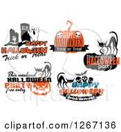 Clipart Of Festive Halloween Designs 6 Royalty Free Vector Illustration