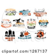 Clipart Of Festive Halloween Designs 7 Royalty Free Vector Illustration