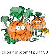 Clipart Of Happy Halloween Pumpkins On The Vine Royalty Free Vector Illustration by Vector Tradition SM
