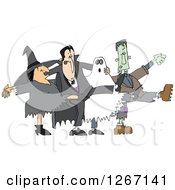Clipart Of A Halloween Witch Dracula Vampire Ghost And Frankenstine Dancing The Can Can Royalty Free Vector Illustration by Dennis Cox