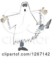 Clipart Of A Halloween Ghost Dancing Royalty Free Vector Illustration by Dennis Cox