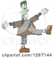 Clipart Of A Halloween Frankenstein Dancing Royalty Free Vector Illustration