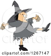 Clipart Of A Chubby Halloween Witch Dancing Royalty Free Vector Illustration