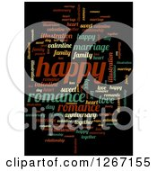 Clipart Of A Cloud Of Colorful Happy Word Tags On Black Royalty Free Illustration by oboy