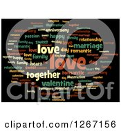 Clipart Of A Cloud Of Colorful Love Word Tags On Black Royalty Free Illustration by oboy