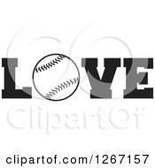 Clipart Of A Black And White Baseball As The Letter O In The Word LOVE Royalty Free Vector Illustration by Johnny Sajem