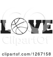 Clipart Of A Black And White Basketball As The Letter O In The Word LOVE Royalty Free Vector Illustration