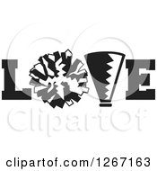 Clipart Of A Black And White Megaphone And Cheerleading Pom Pom In LOVE Royalty Free Vector Illustration