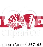 Clipart Of A Red And White Megaphone And Cheerleading Pom Pom In LOVE Royalty Free Vector Illustration