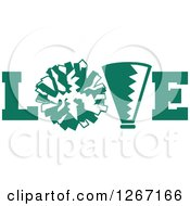 Clipart Of A Green And White Megaphone And Cheerleading Pom Pom In LOVE Royalty Free Vector Illustration