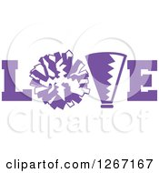 Purple And White Megaphone And Cheerleading Pom Pom In Love