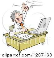 Clipart Of A Caucasian Businessman Working At His Desk And Holding His Finger Up To The Wind Royalty Free Vector Illustration by Johnny Sajem