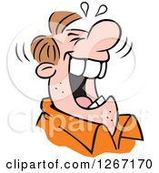Clipart Of A Caucasian Man Laughing Royalty Free Vector Illustration by Johnny Sajem