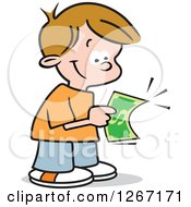 Clipart Of A Happy Caucasian Boy Holding His First Dollar Royalty Free Vector Illustration by Johnny Sajem