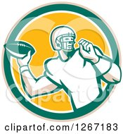 Clipart Of A Retro Male American Football Player Throwing In A Tan Green White And Yellow Circle Royalty Free Vector Illustration