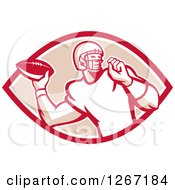 Clipart Of A Retro Male American Football Player Throwing In A Red White And Tan Oval Royalty Free Vector Illustration