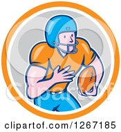 Clipart Of A Cartoon White Male American Football Player In An Orange White And Gray Circle Royalty Free Vector Illustration