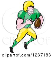 Clipart Of A Cartoon White Male American Football Player Running In A Green And Yellow Uniform Royalty Free Vector Illustration