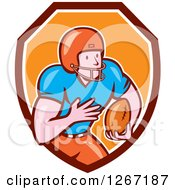 Clipart Of A Cartoon White Male American Football Player In A Maroon White And Orange Shield Royalty Free Vector Illustration by patrimonio