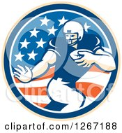 Clipart Of A Retro Football Player In An American Flag Circle Royalty Free Vector Illustration by patrimonio