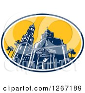 Clipart Of A Retro Woodcut Scene Of The Cathedral Basilica Of St Augustine Florida USA Royalty Free Vector Illustration