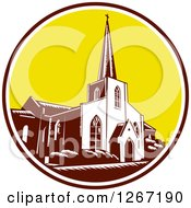 Clipart Of A Retro Woodcut Scene Of The Trinity Parish Church In St Augustine Florida USA Royalty Free Vector Illustration