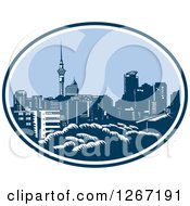 Clipart Of A Retro Woodcut Scene Of The Auckland City Skyline With The Sky Tower In New Zealand Royalty Free Vector Illustration
