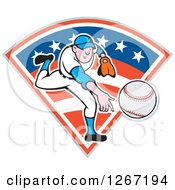 Clipart Of A Cartoon White Male Baseball Pitcher Throwing Over An American Flag Diamond Royalty Free Vector Illustration