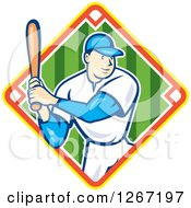 Clipart Of A Cartoon White Male Baseball Player Batting Inside Diamond Royalty Free Vector Illustration
