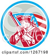 Clipart Of A Retro Revolutionary Soldier With An American Flag In A Blue White And Gray Circle Royalty Free Vector Illustration