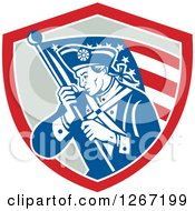 Clipart Of A Retro Blue And White Revolutionary Soldier With An American Flag In A Red And Gray Shield Royalty Free Vector Illustration by patrimonio