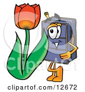 Clipart Picture Of A Suitcase Cartoon Character With A Red Tulip Flower In The Spring
