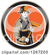 Clipart Of A Retro Male Fireman Holding An Axe In A Brown Black White And Orange Circle Royalty Free Vector Illustration