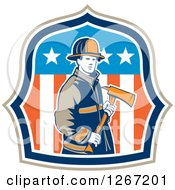 Clipart Of A Retro Male Fireman Holding An Axe In An American Flag Shield Royalty Free Vector Illustration