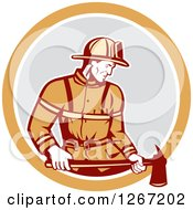 Clipart Of A Retro Male Fireman Holding An Axe In An Orange White And Gray Circle Royalty Free Vector Illustration