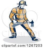 Clipart Of A Retro Male Fireman Holding An Axe Royalty Free Vector Illustration