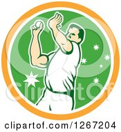 Clipart Of A Retro Male Cricket Player Fast Bowler Throwing A Ball In An Orange White And Green Circle Royalty Free Vector Illustration