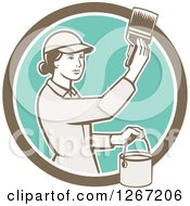 Clipart Of A Retro Female House Painter Using A Brush In A Brown White And Turquoise Circle Royalty Free Vector Illustration by patrimonio